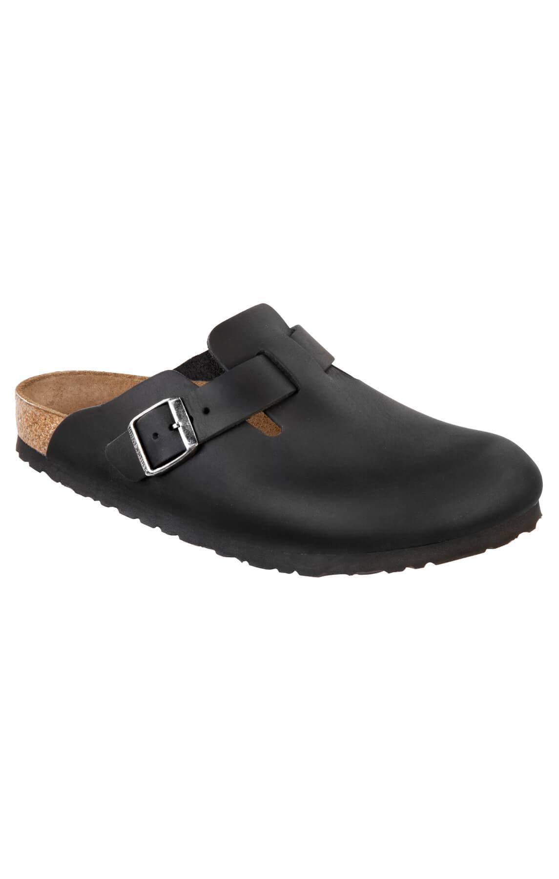 birkenstock boston clog natural black leather