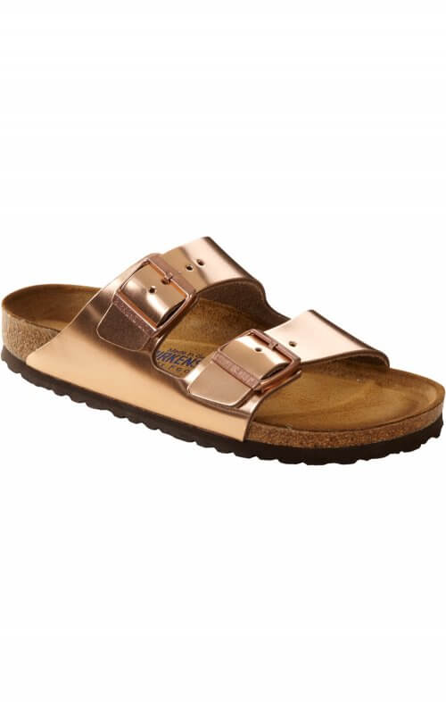 birkenstock arizona copper metallic sandals