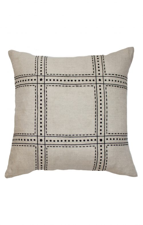 bandhini linen dot black natural cushion