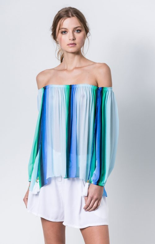 and she was ombre off shoulder blouse