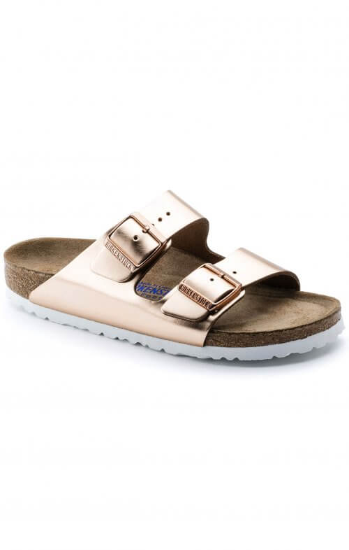 birkenstock arizona copper soft footbed