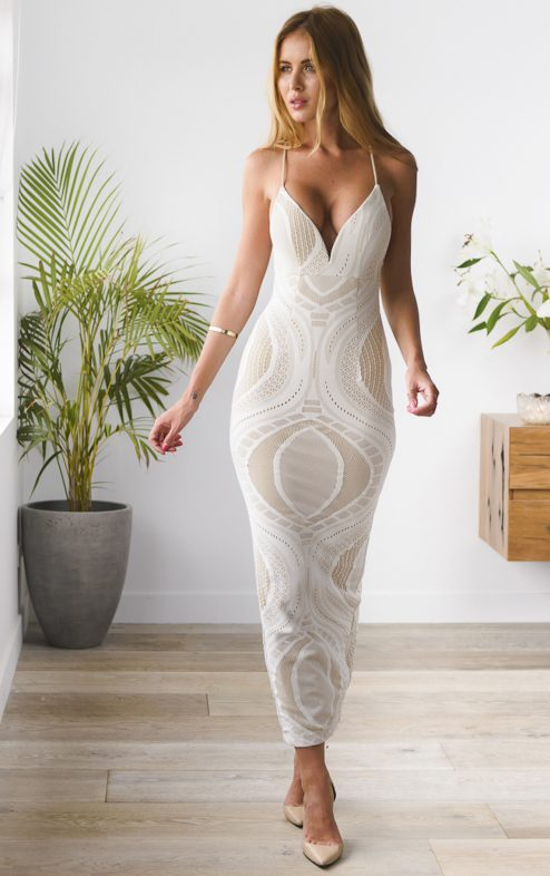 seminyak maxi dress white nude