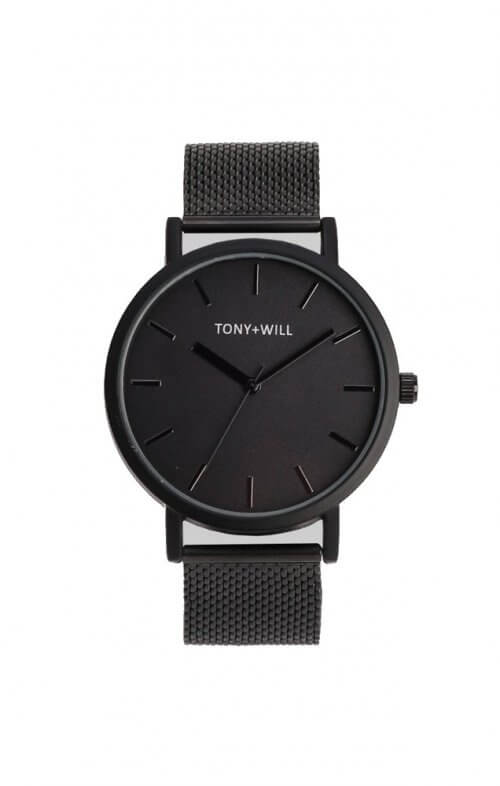tony + will black mesh watch