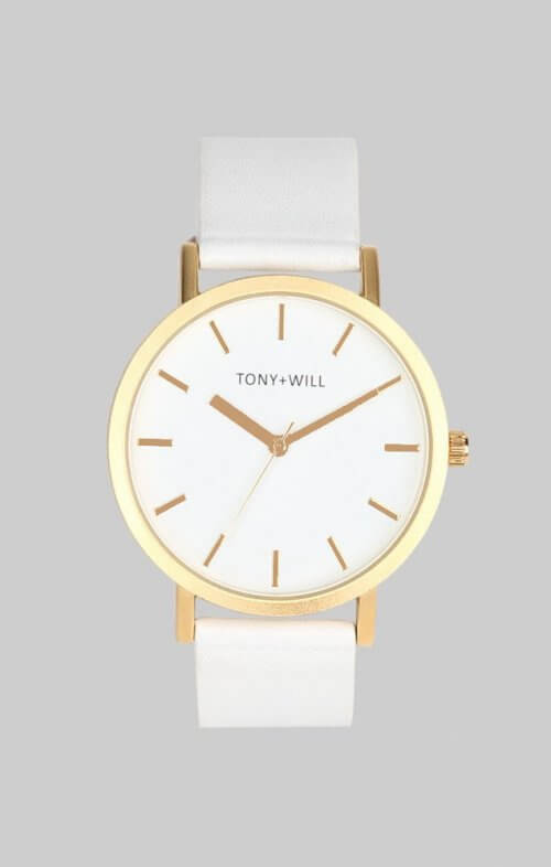 tony + will gold white watch