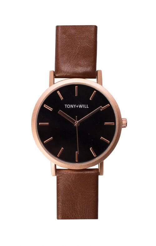 tony + will rose gold black tan watch