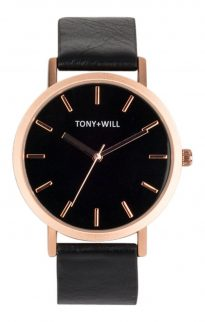 tony will rose gold black watch