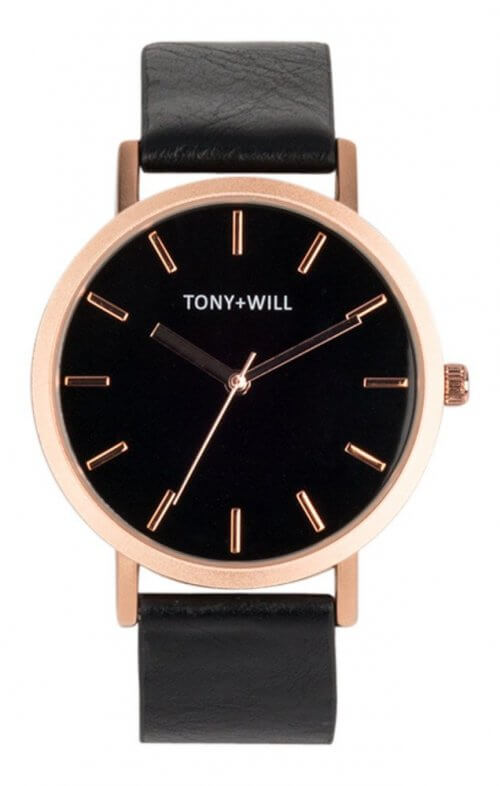 tony + will rose gold black watch