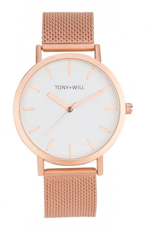 tony + will rose gold mesh watch