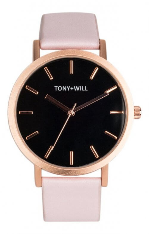 tony + will rose gold pink black watch