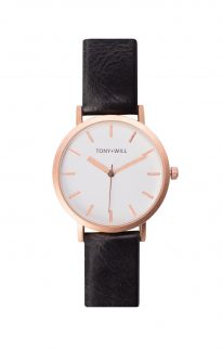 tony will rose gold white black watch