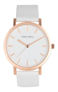 tony will rose gold white watch
