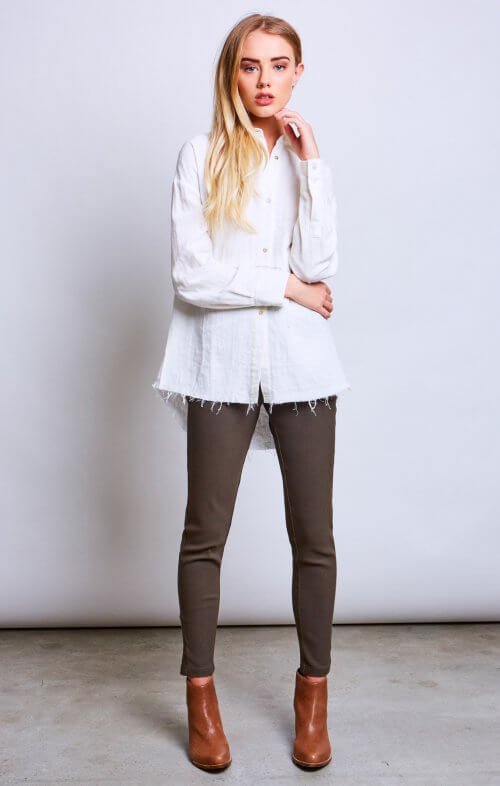 conchita kickpleat leggings khaki