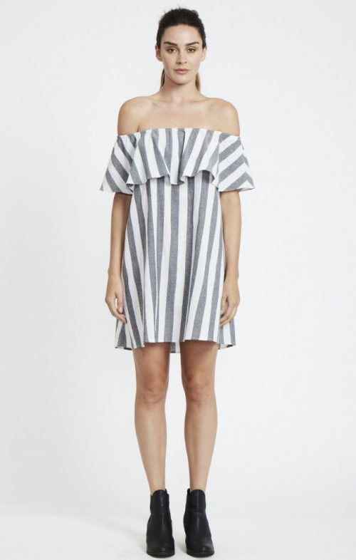 ids stripe off shoulder dress grey white