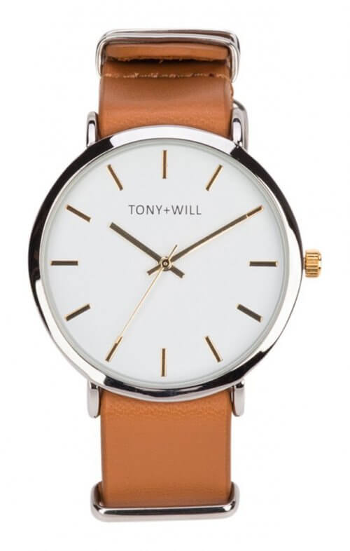 tony + will silver tan white watch