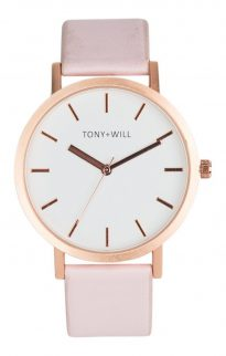 tony will rose gold pink white watch