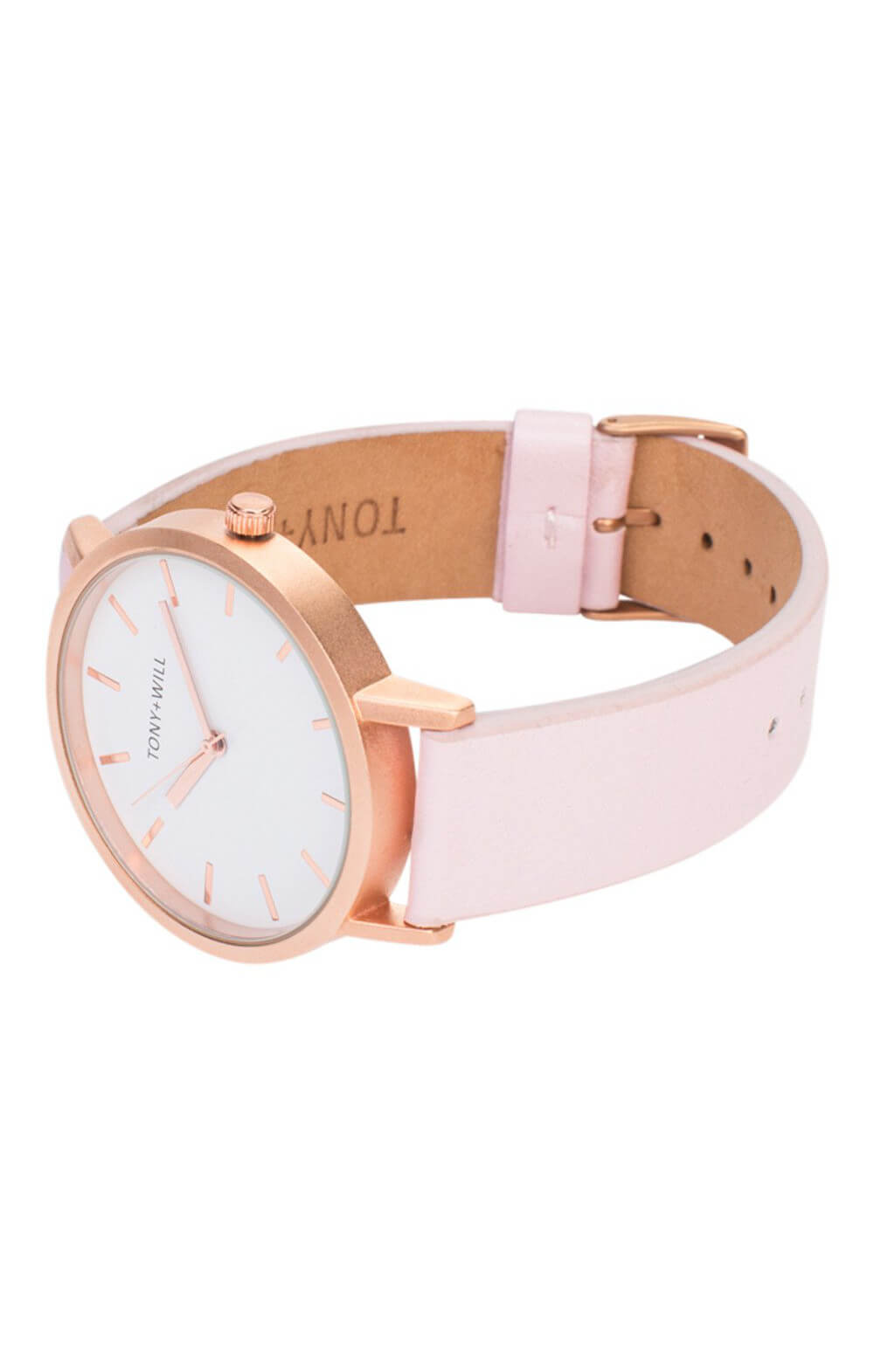tony + will rose gold pink white watch