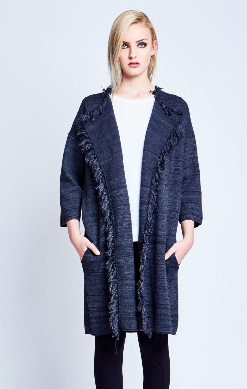 chalice fringed knit coat charcoal marle