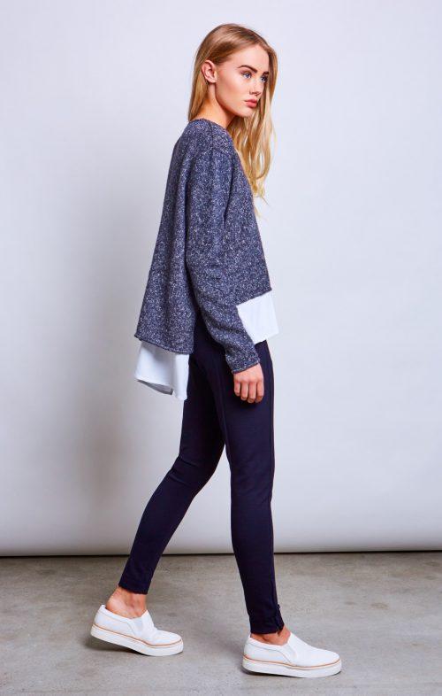 conchita contrast layer sweater deep sea