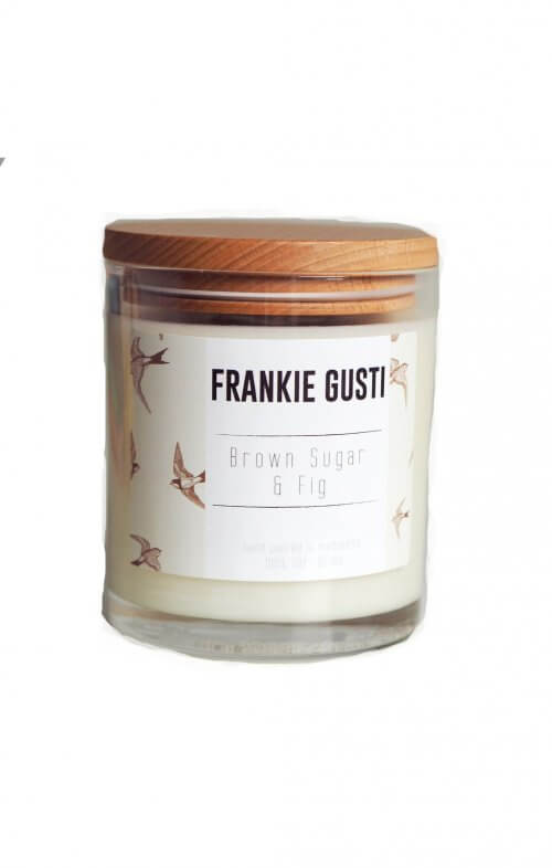 frankie gusti wood lid brown sugar fig candle