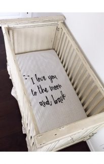 modern burlap crib sheet moon & back1