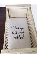 modern burlap organic cot crib sheet moon & back