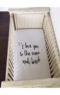 modern burlap crib sheet moon & back2