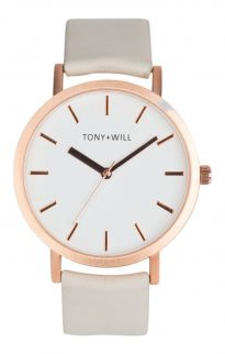 tony will rose gold grey white watch