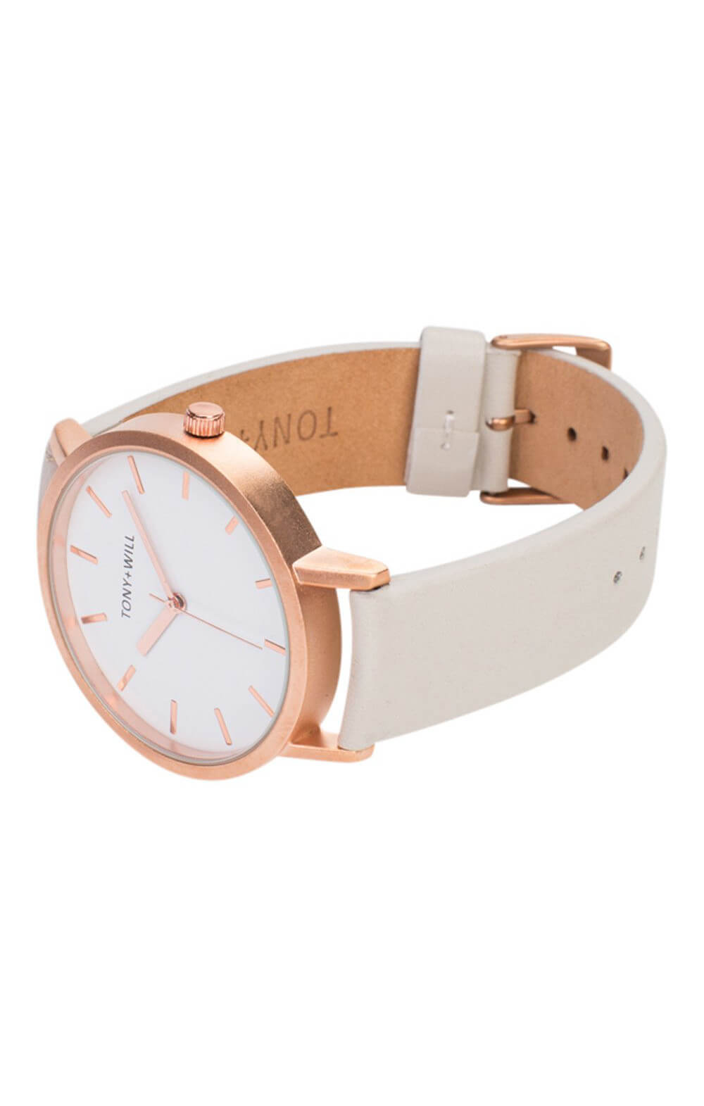 tony + will rose gold grey white watch