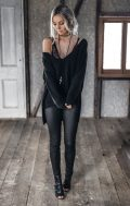 mornings knit jumper black