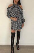 pom pom gingham tunic dress