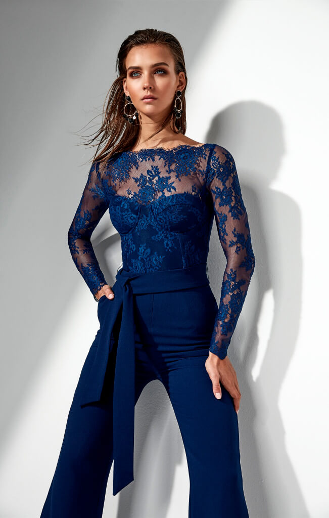 miss holly heidi pantsuit navy lace