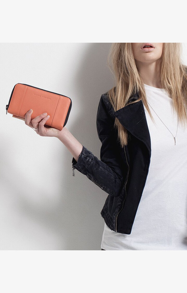 status anxiety state of flux wallet coral