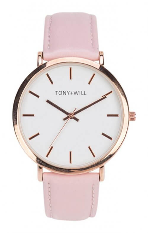 tony + will slim rose pink white watch