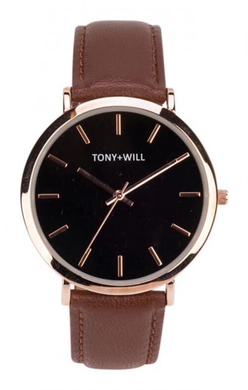 tony + will modern rose tan black watch