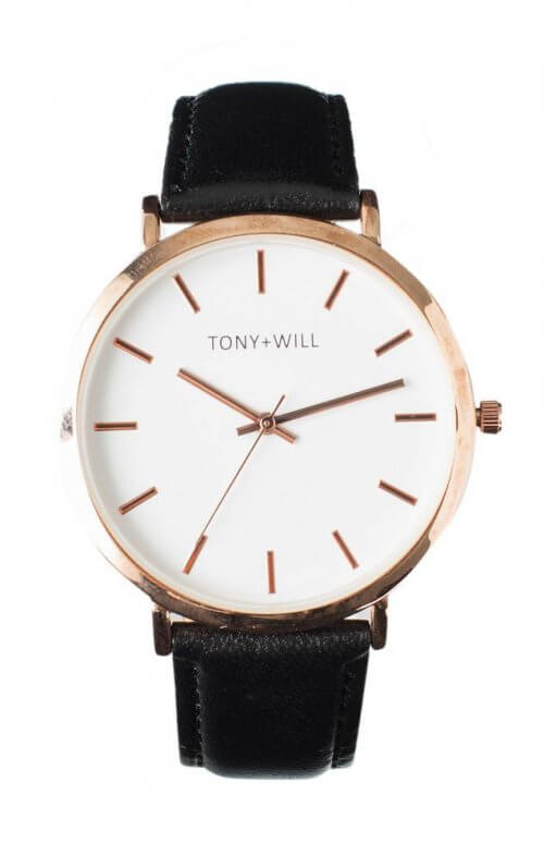 tony + will modern rose black white watch