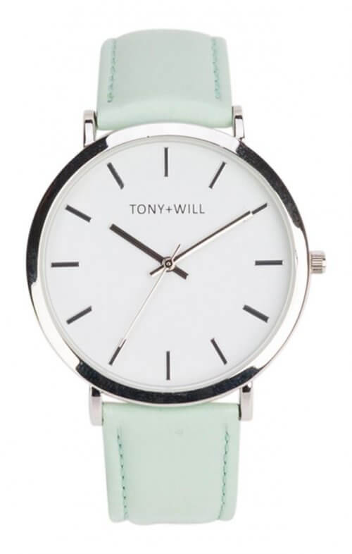 tony + will modern silver mint white watch