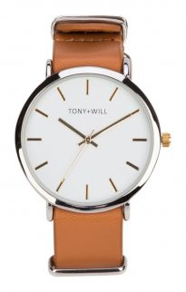 tony will modern watch silver tan white