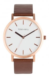 tony will rose white tan watch