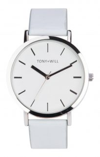 tony will silver white blue watch