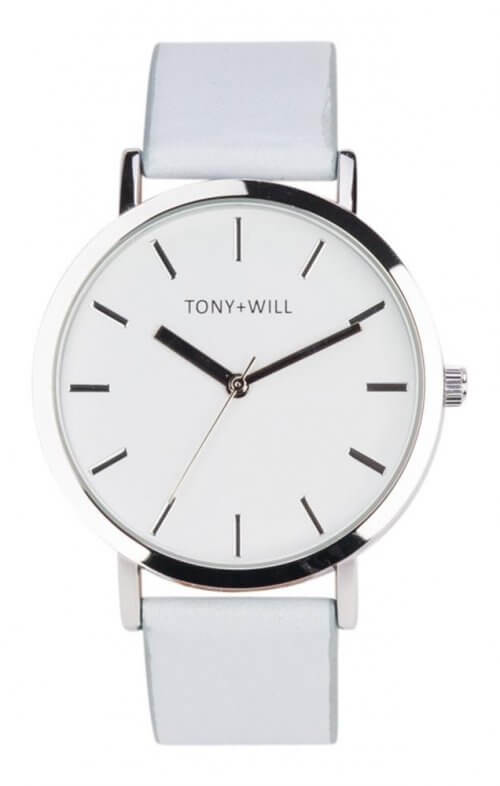tony + will silver powder blue watch classic