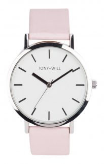 tony will silver white pink watch
