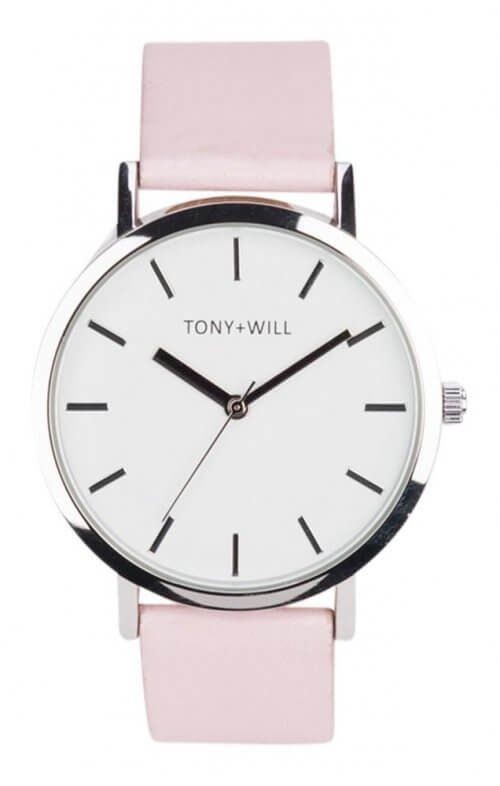 tony + will silver pink watch classic