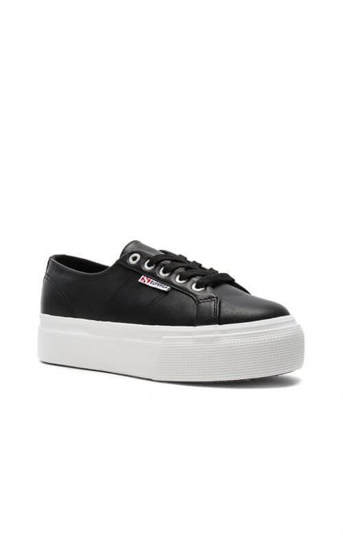 superga flatform 2790 black leather sneaker