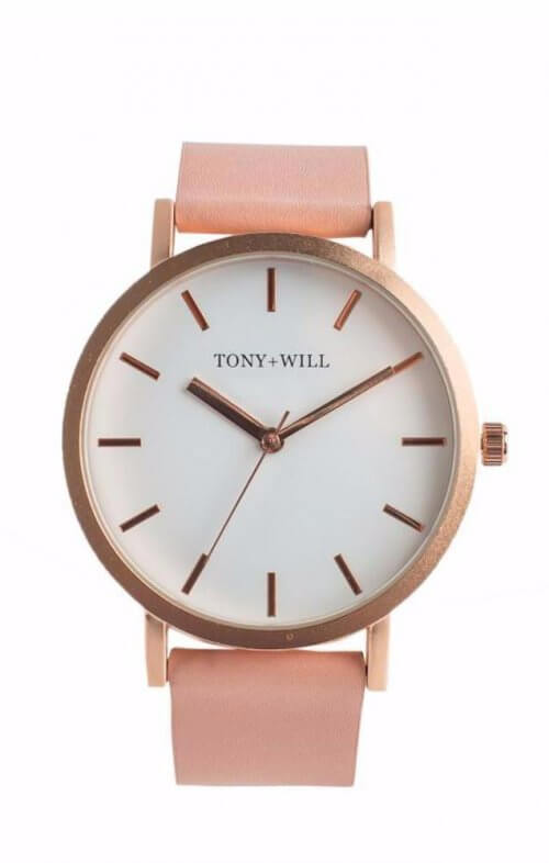 tony + will rose gold peach white watch classic