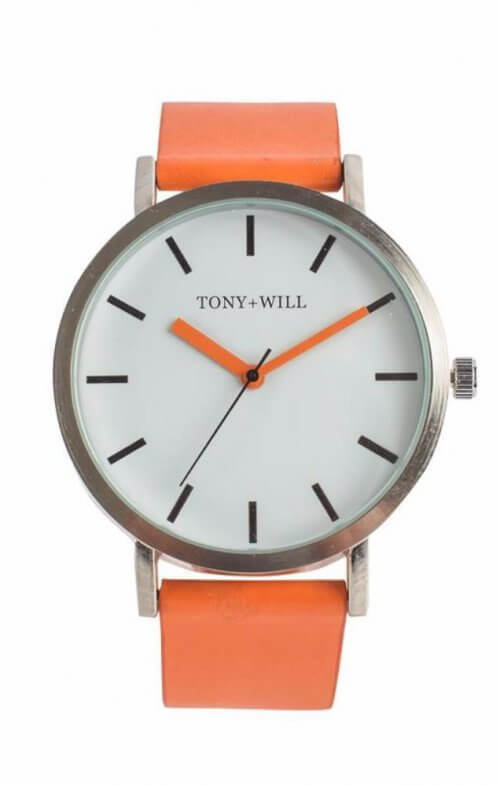 tony + will silver white orange watch classic
