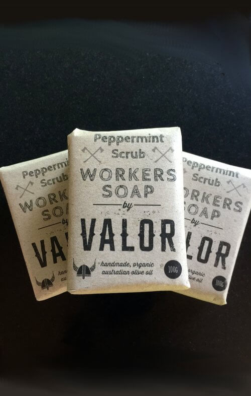 shave with valor workers peppermint soap