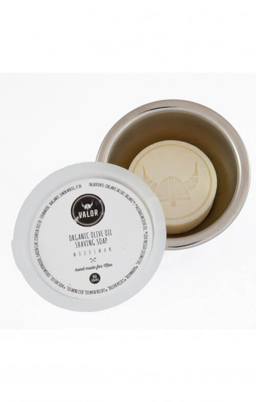 shave with valor organic shaving soap woodsman