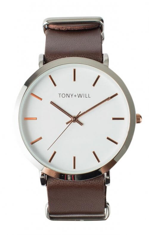 tony + will slim watch silver white brown