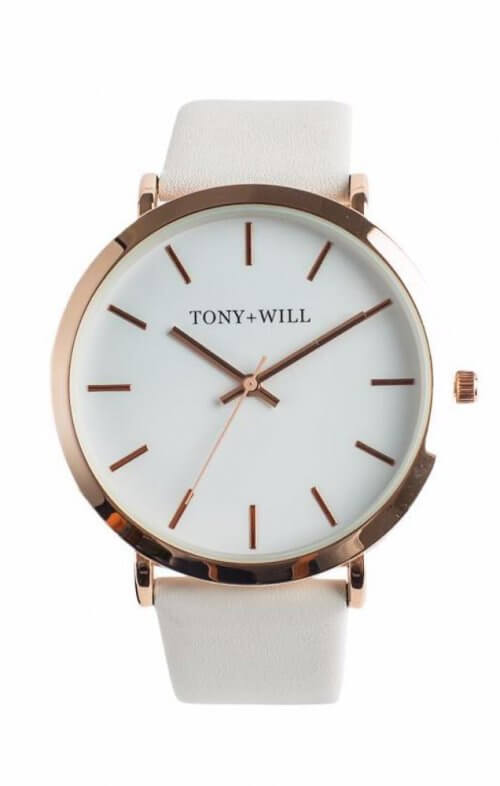 tony + will slim watch rose white white