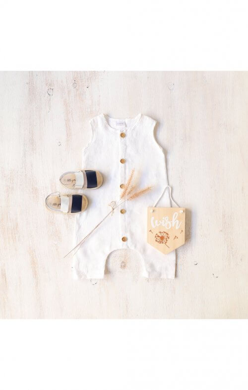 two darlings button romper white linen